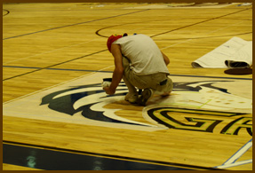 We also provide hardwood floor refinishing services for gymnasiums.